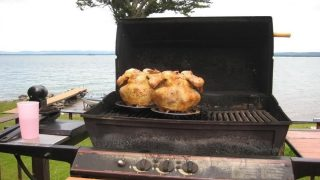 Grilling beer can chicken